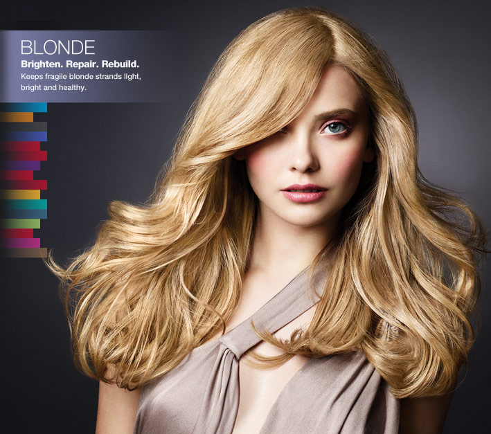 Blonde - Brighten. Repair. Rebuild. Keeps fragile blonde strands light, bright and healthy.