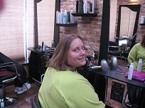 Tracy Kog after donating her hair to Locks of Love
