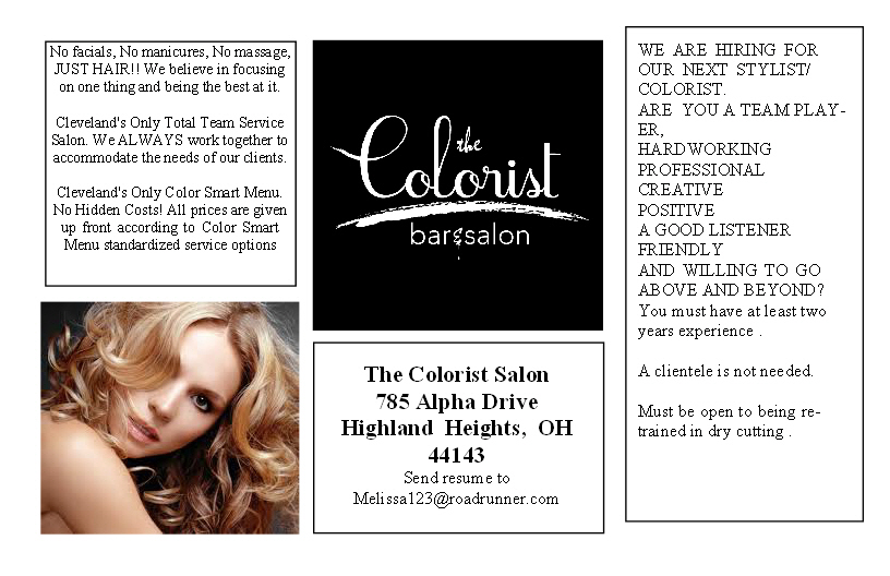 The Colorist Bar & Salon in Highland Heights, Ohio is hiring!