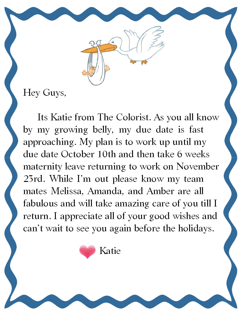 Katie Maternity Leave Note