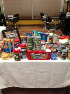 Food Drive Donations at The Colorist Bar & Salon in Highland Heights, Ohio