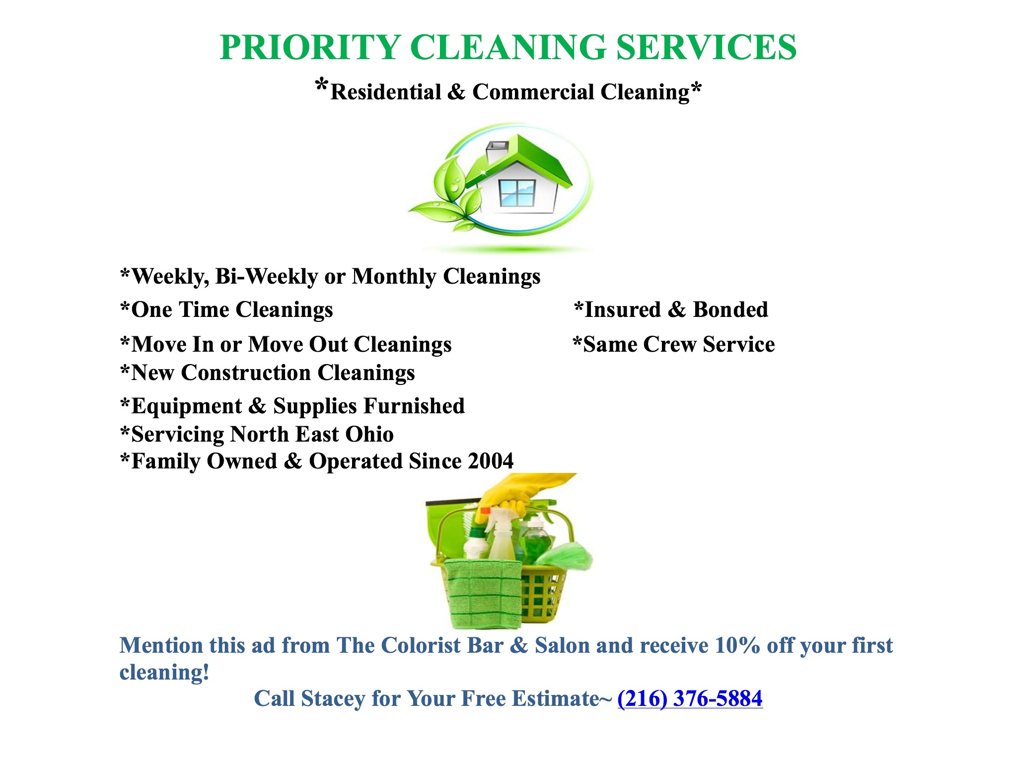 Priority Cleaning Services Discount partnership with The Colorist Bar & Salon